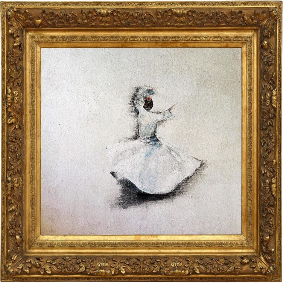"ON REQUEST ""Dervish"" Mixed Media on canvas Framed in vintage guilded wooden frame"