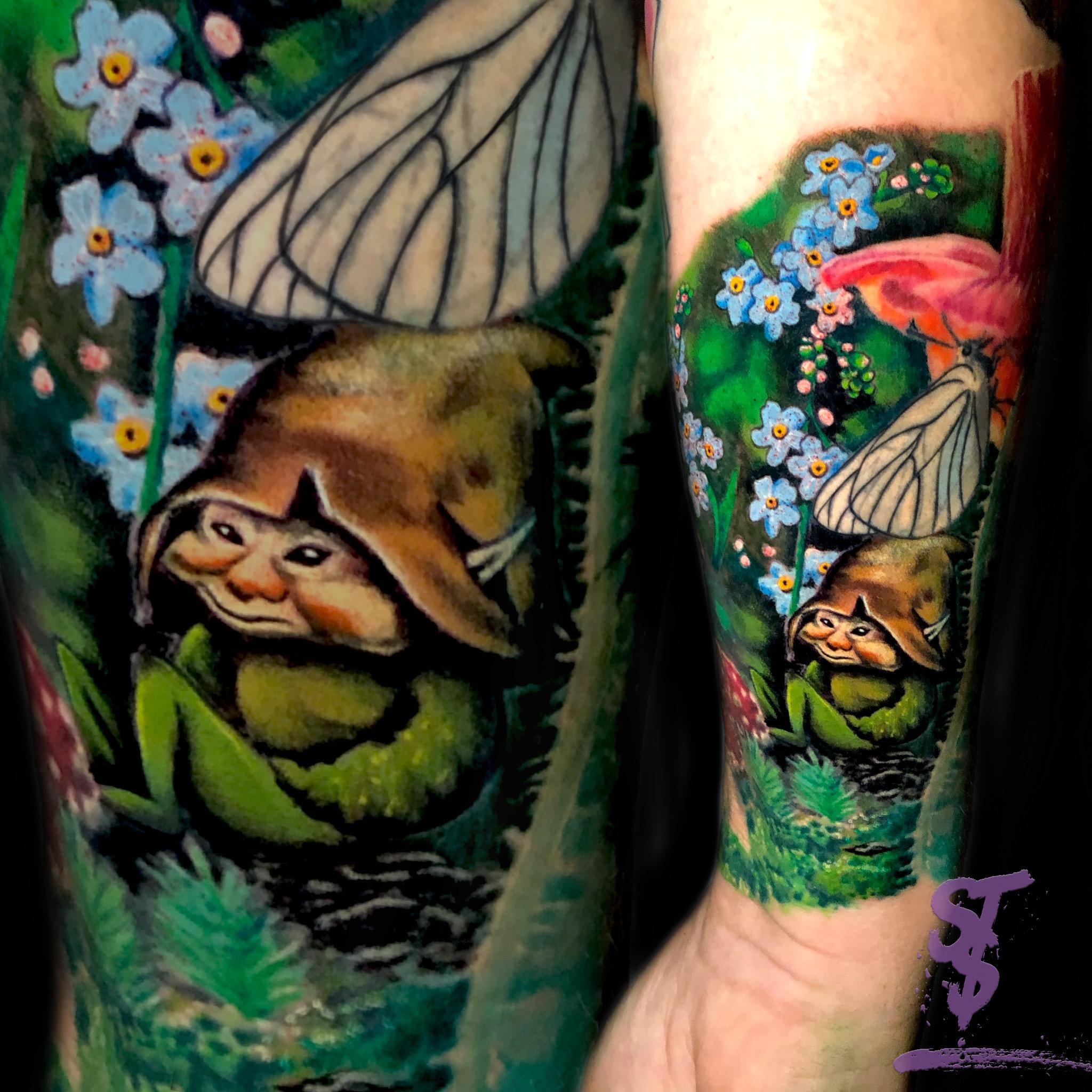 Elfe Zwerg color Fantasy Tattoo