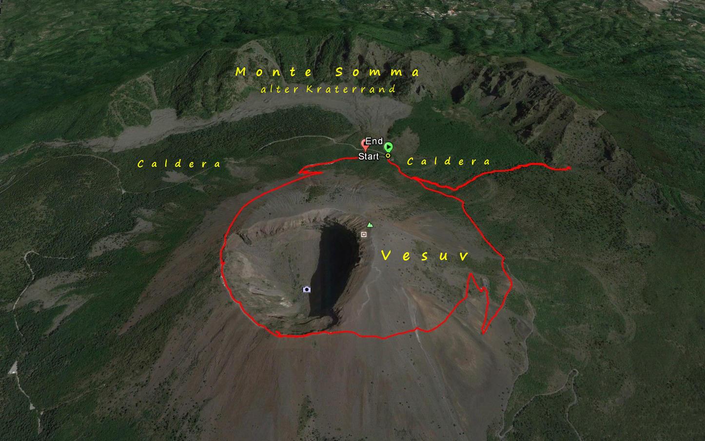 Unsere Wanderroute im Vesuv Nationalpark Der Vesuv ist ein Ringvulkan, der aus dem Monte Somma, besteht. Innerhalb  des Monte Somma befindet sich ein kleinerer Vulkankegel, der Vesuv, 1.281 m hoch, der noch aktiv ist