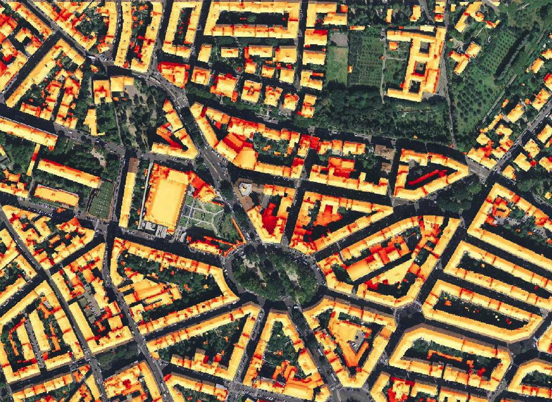 Annual solar irradiation in Florence, Italy, computed on the digital urban model derived from LiDAR data (credits: Carla Balocco, Claudio Carneiro, Virginia Gori, Eugenio Morello)