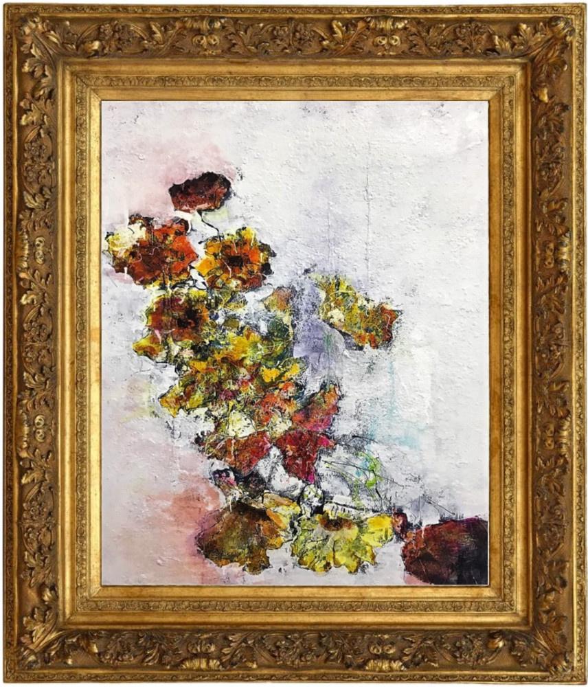 """""""Composition"""" technique mixte sur toile - vintage gilded frame"""