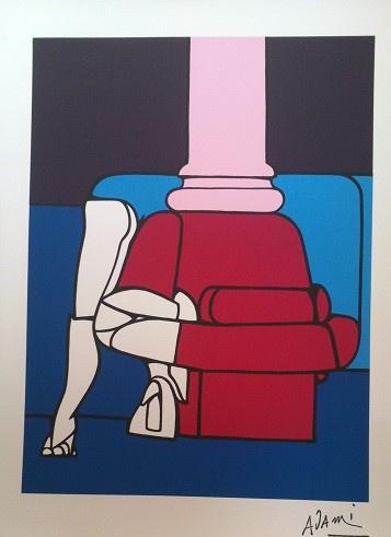 VALERIO ADAMI Schönheitssalon serigraphie in 6Farben gedruckt von Multirevol Milan Auflage 3000 Exemplare signaturstempel des Künstlers Größe 65x50 cm.  70