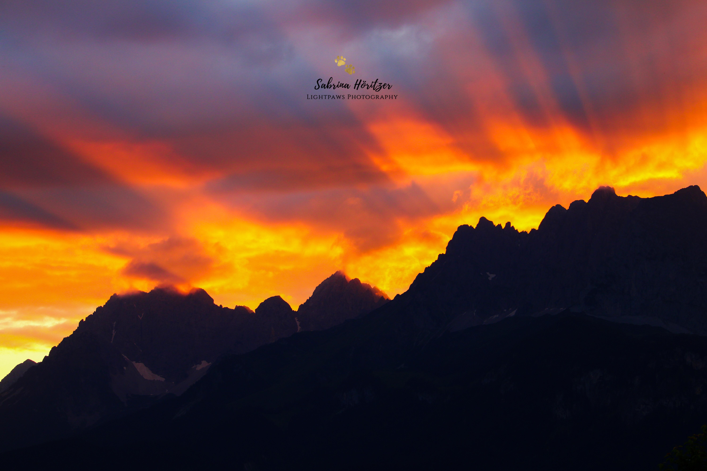 Sonnenuntergang Wilder Kaiser Sankt Johann in Tirol