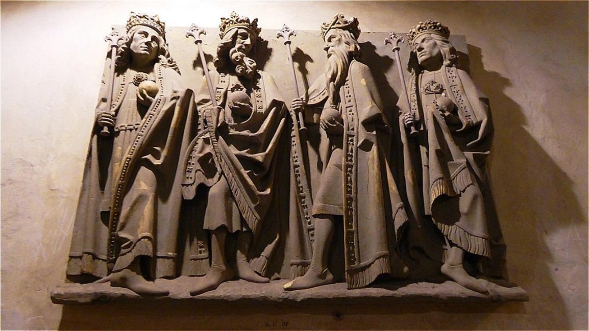 Römisch deutsche Könige mit Zepter und Reichsapfel