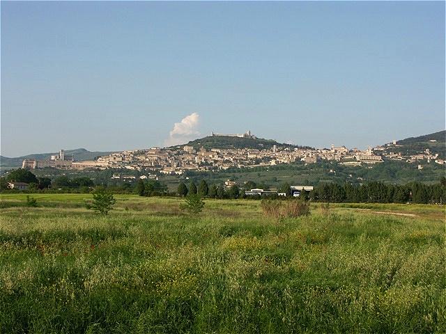 Blick von San Damiano auf Assisi
