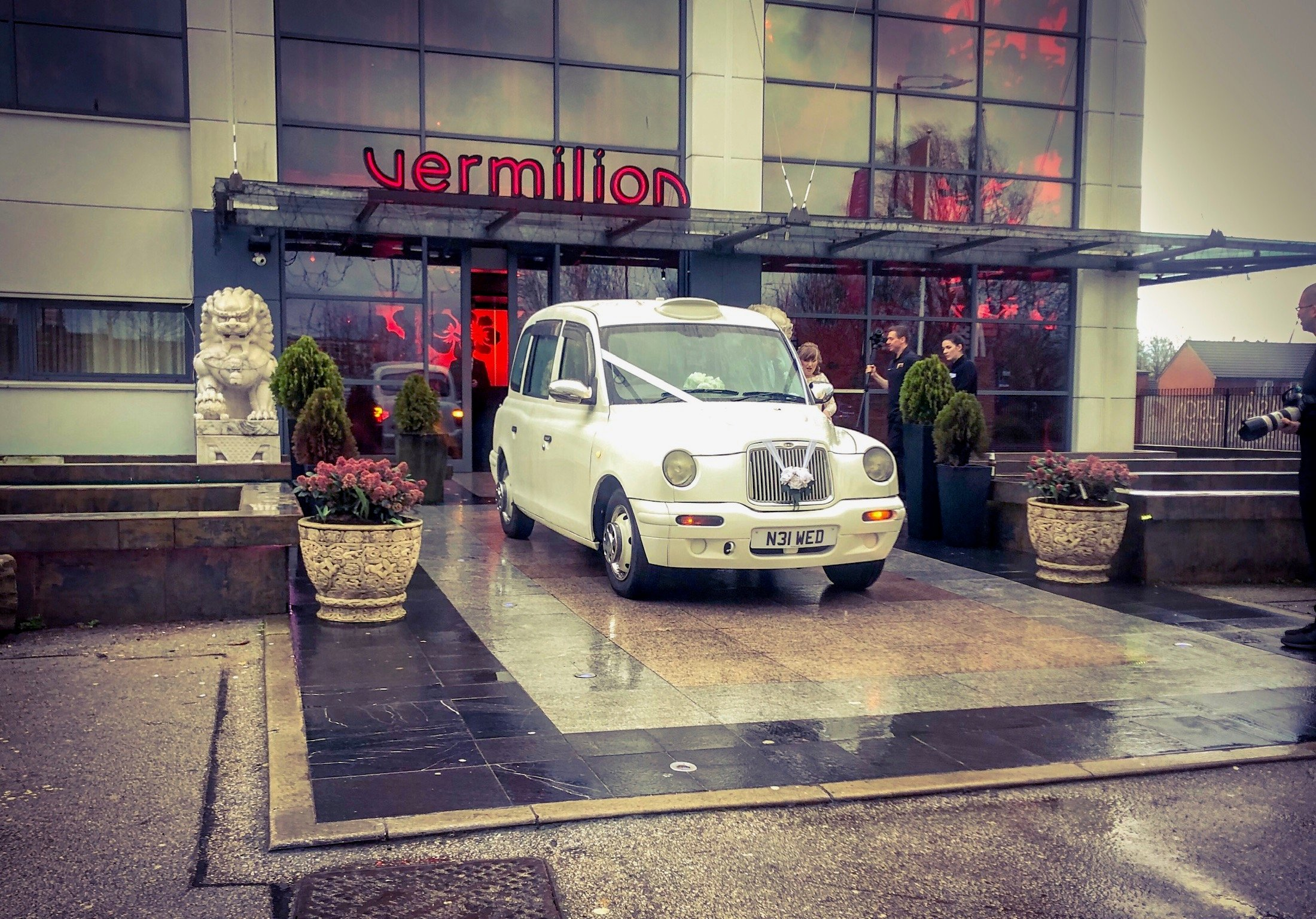 Vermillion wedding taxi cars