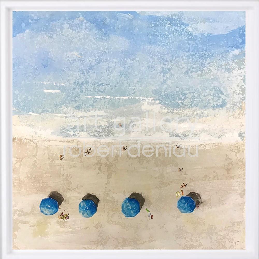 "SOLD ""Blue Umbrellas"" H60x60 cm - Framed 67x67 cm Mixed Media on canvas"