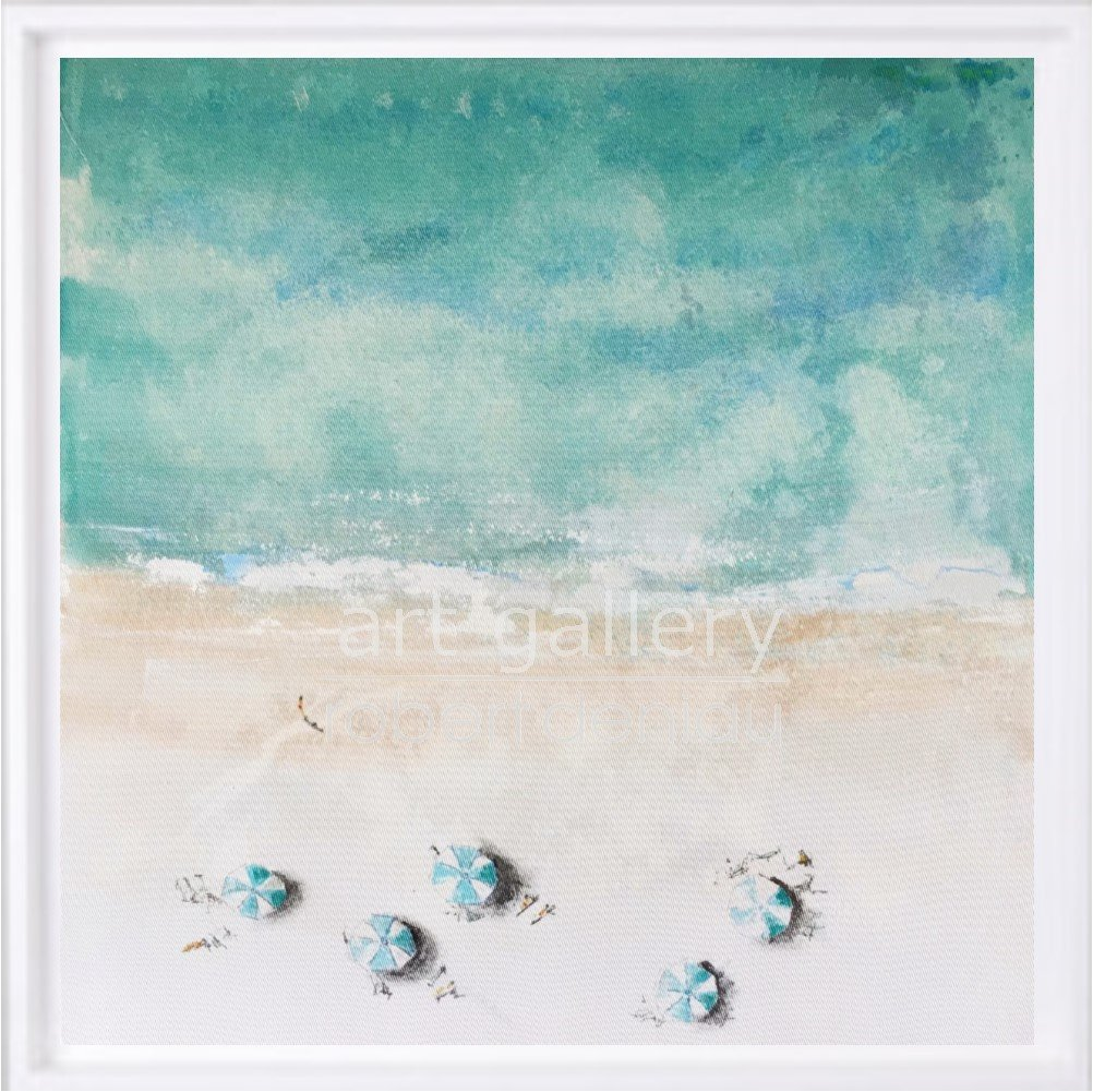 Beach 4 H60x60 cm - Framed 67x67 cm Mixed Media on canvas