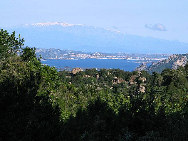 Am Horizont die schneebedeckten Berge Korsikas