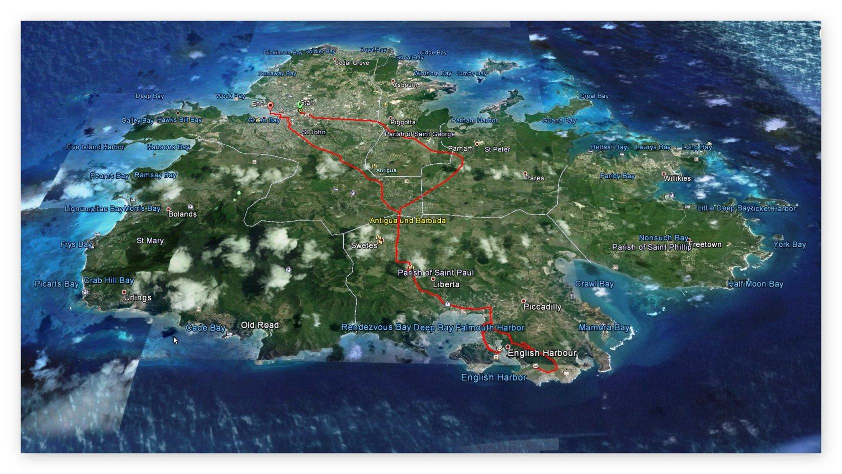 GPS Daten - Landausflug Antigua