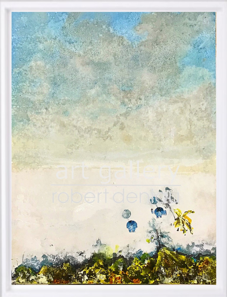 """""""Along the Beach"""" H80x60 cm - Framed 87x67 cm Mixed Media on canvas"""