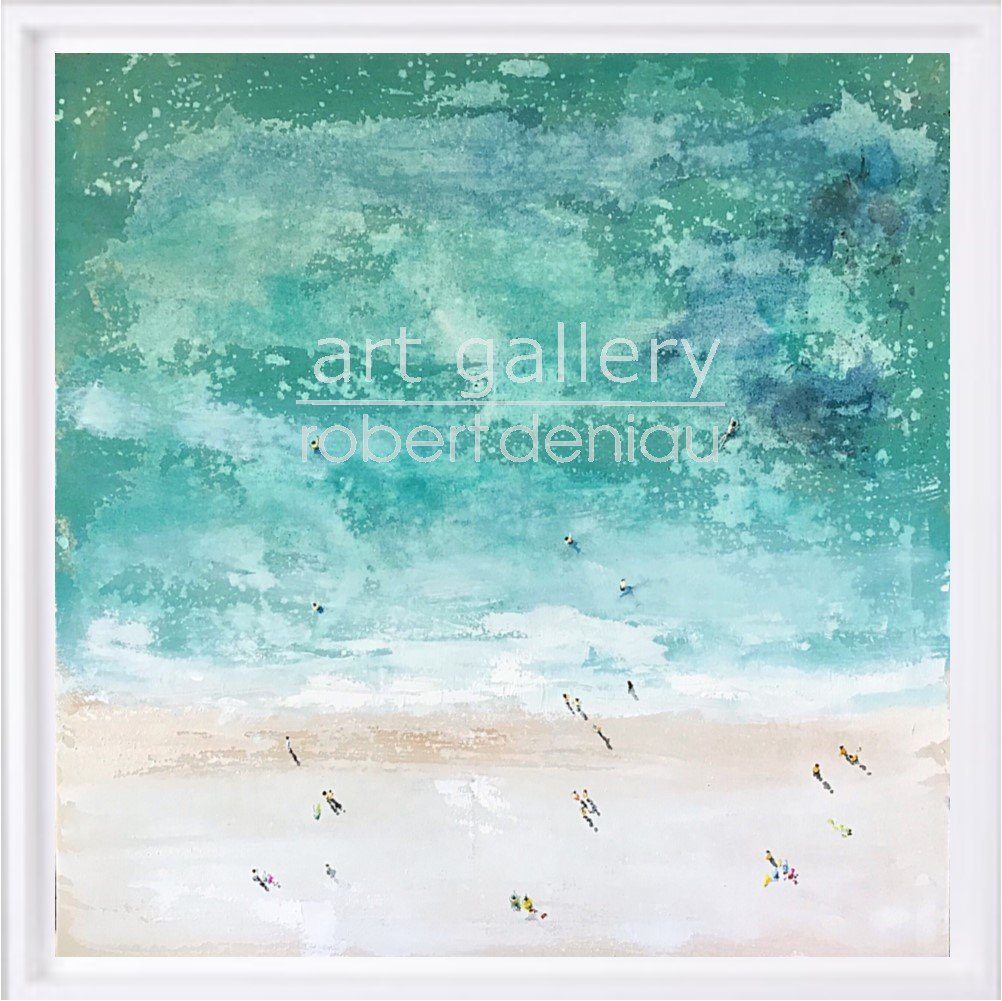 Beach 2 H60x60 cm - Framed 67x67 cm Mixed Media on canvas