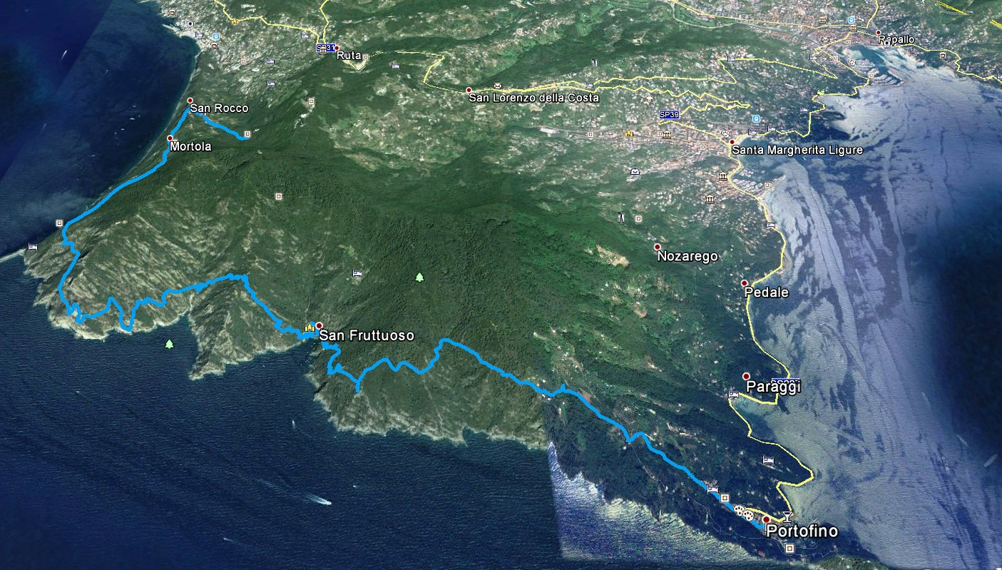 GPS-Daten Aufzeichnung Wanderroute San Rocco-Portofino
