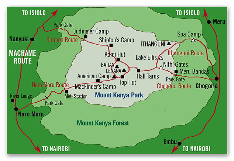 Aufstieg über die Chogoria Route - Abstieg über die Naru Moru Route