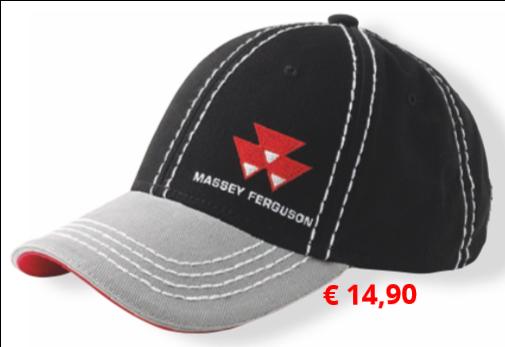 Elegante schwarze Cap mit  farblich abgesetzter Paspelierung  und aufgesticktem Massey  Ferguson Logo an der Vorderseite.  Größenverstellbar, Metallschnalle  mit Massey Ferguson Logoprägung.  Artikelnummer: X993080106000 € 14,90