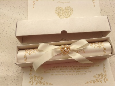 A4 scroll with pearl and diamante embellishment