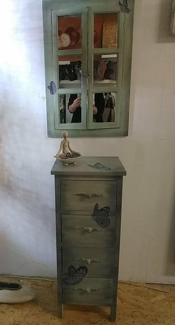 Kleine Komode 90x35 Spiegel 70x47
