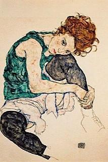 PEINTURE: femme assise avec un genou plié Egon Schiele