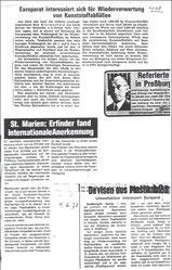 1978-79: Diverse Zeitungsartikel über              den Erfinder Karl Blaimschein