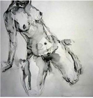 PEINTURE: nu à genou de face incliné Jenny Jacottet
