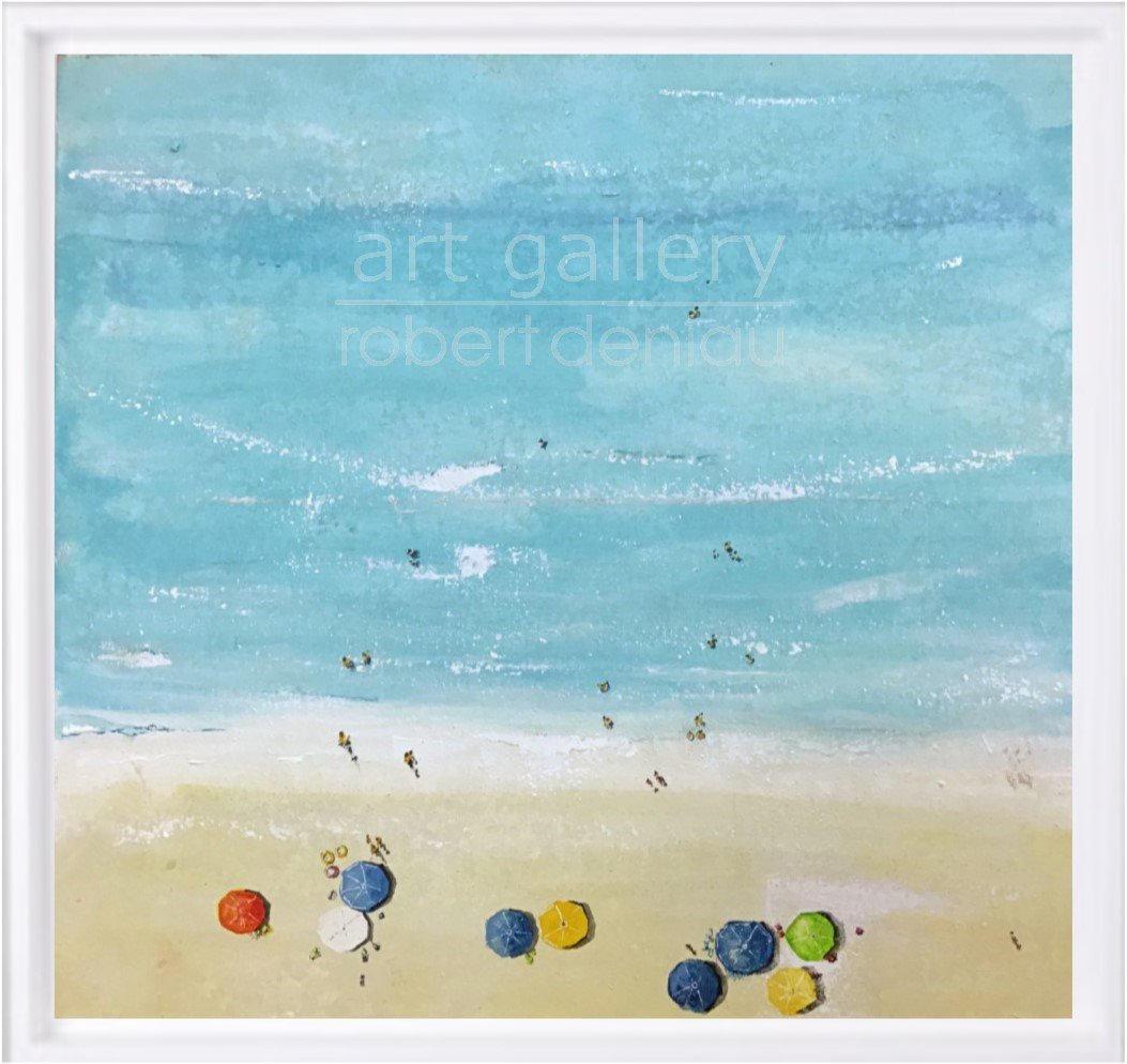 """""""Beach"""" H60x60 cm - Framed 67x67 cm Mixed Media on canvas"""
