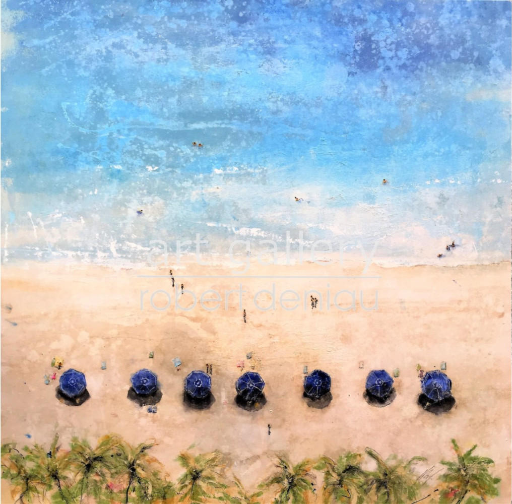 """Blue umbrellas"" H145x145 cm Mixed Media on canvas"