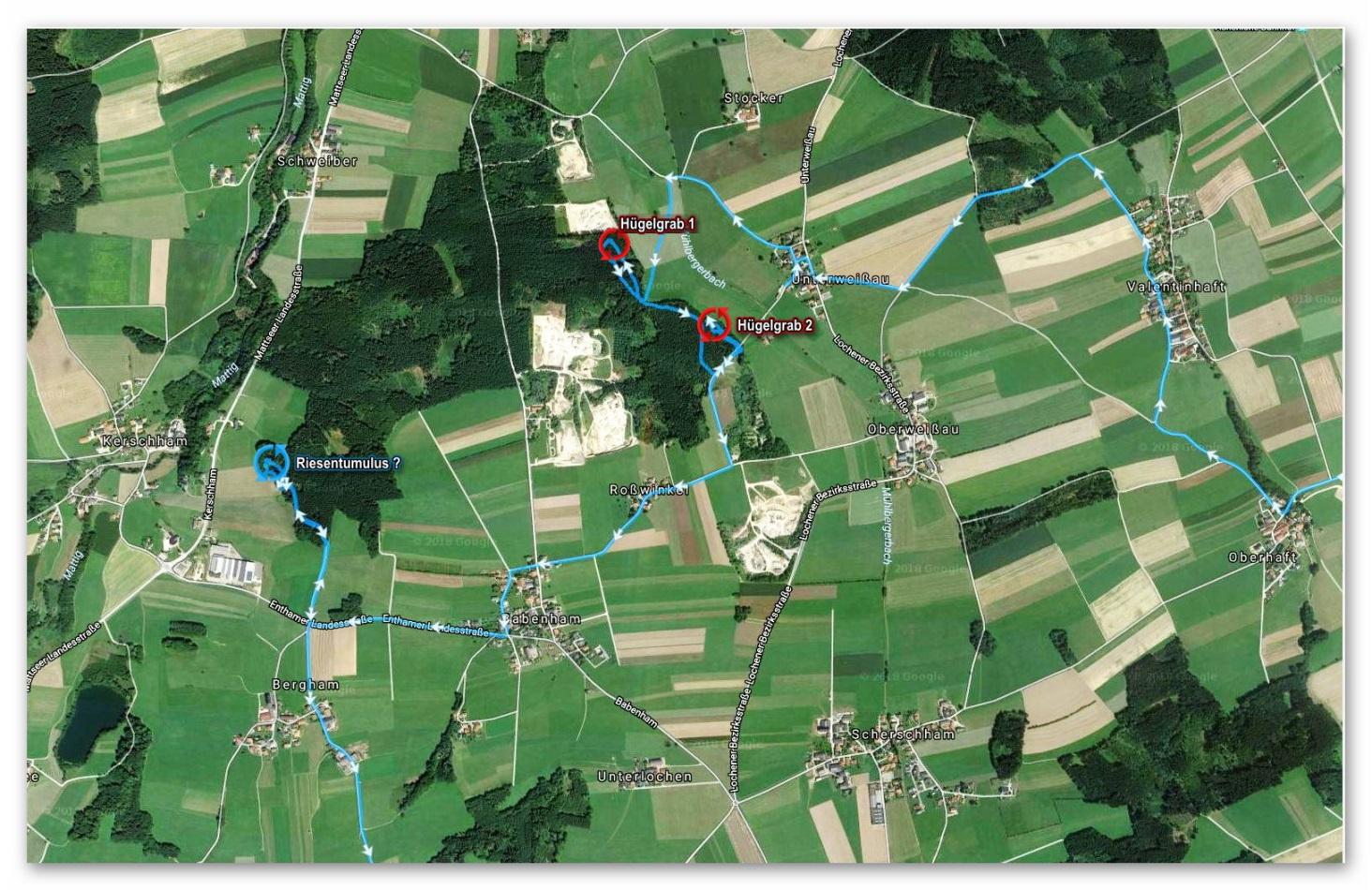 Lageplan - Hügelgräber Schweiberwald Ost und West