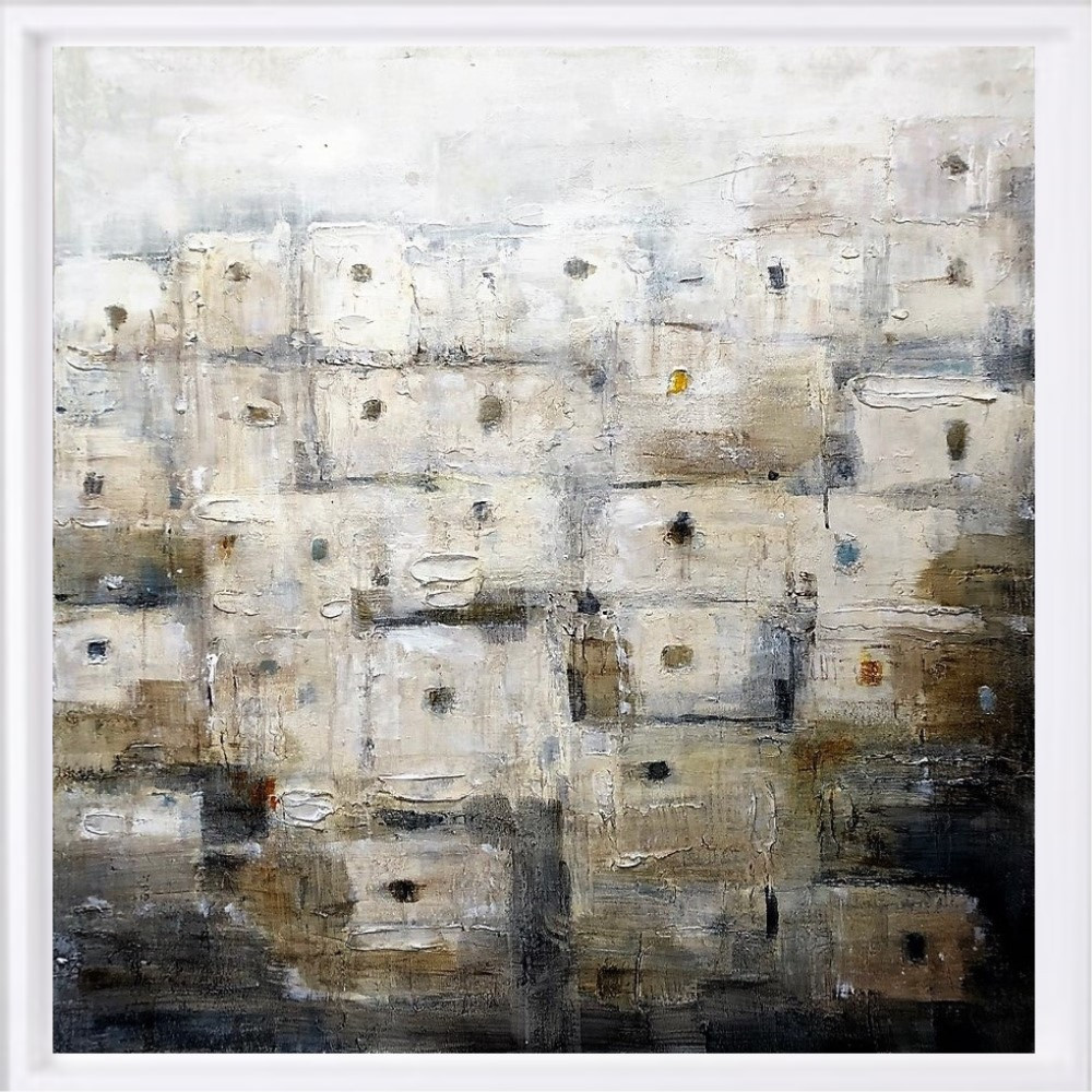 "SOLD ""Maroc blanc"" H80x80 cm - Framed 87x87 cm Mixed Media on canvas"