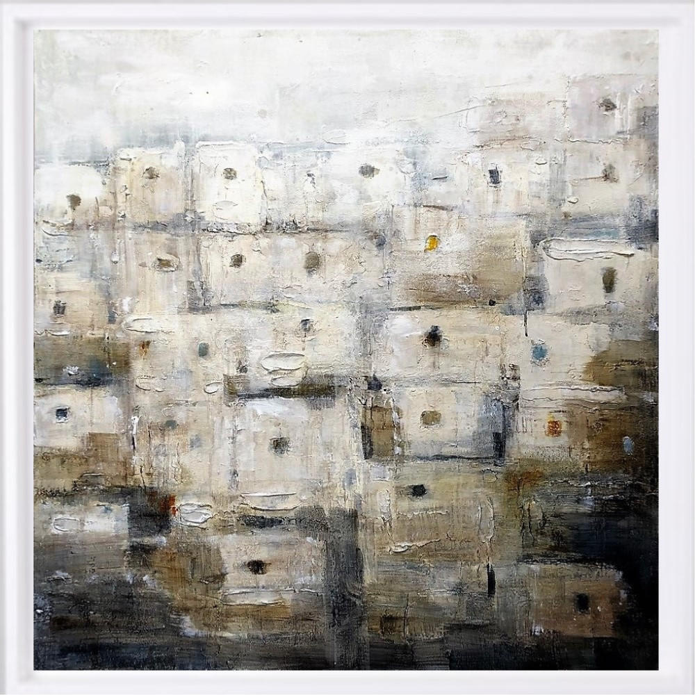 "SOLD ""Maroc blanc"" H80x80 cm - Framed 87x87 cm Mixed Media on canvas"