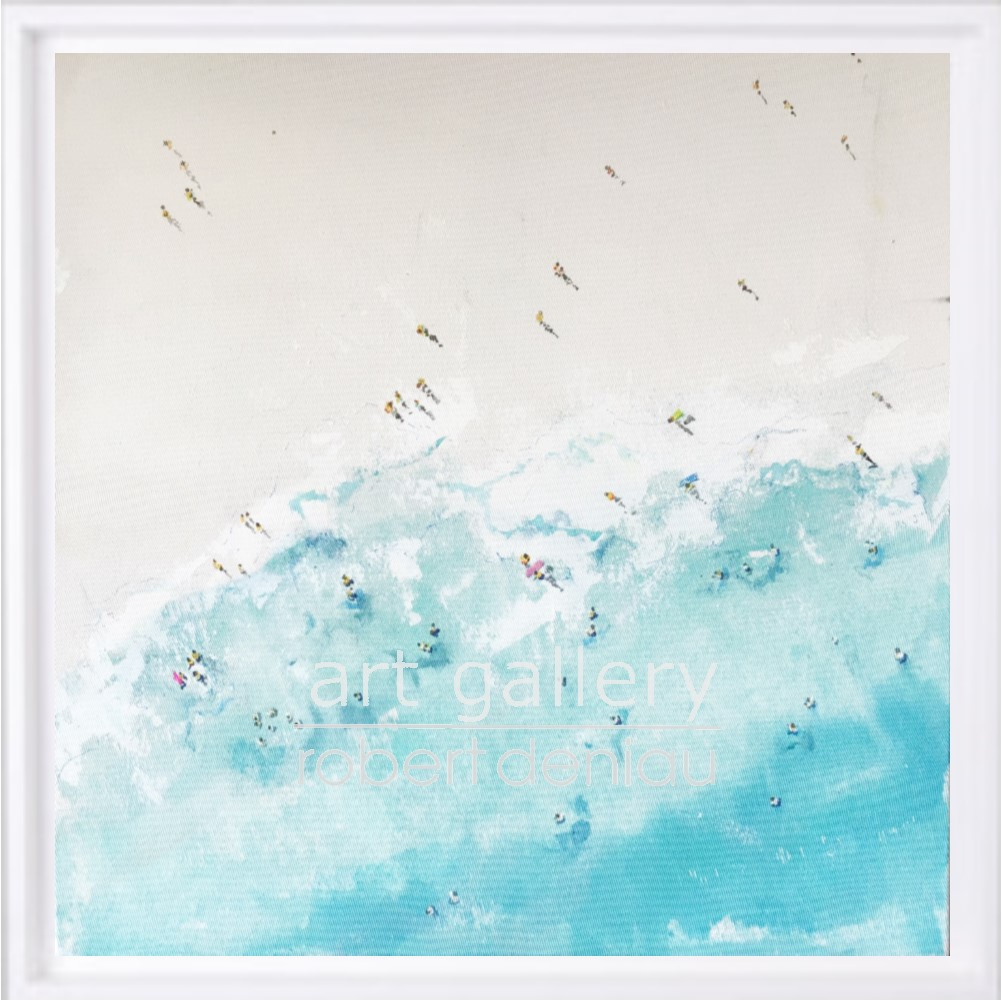 Beach 1 H60x60 cm - Framed 67x67 cm Mixed Media on canvas