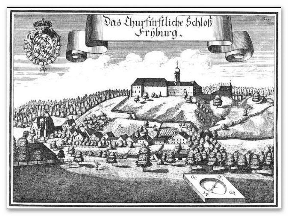 Churbayrisches Schloss Friedburg nach Michael Wening von 1721