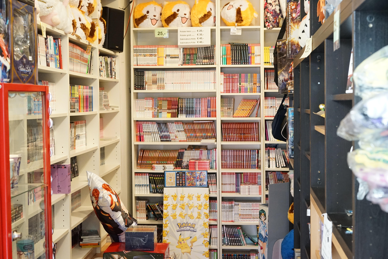 Alles gut vollgeräumt mit Büchern, Figuren und andere Fanartikeln.