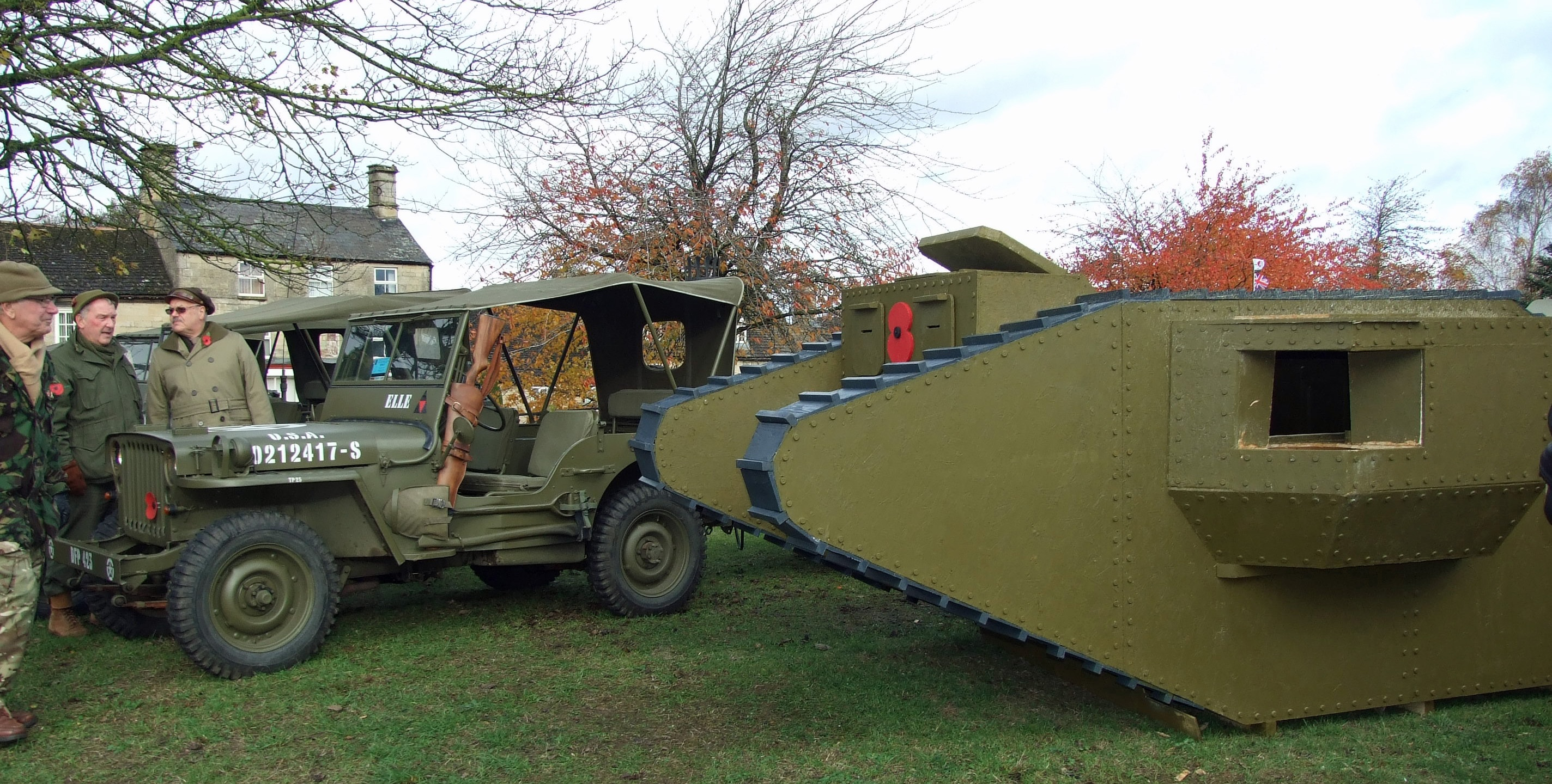 Weldon villagers built this two-thirds scale tank to mark the 100 years since the end of WW1