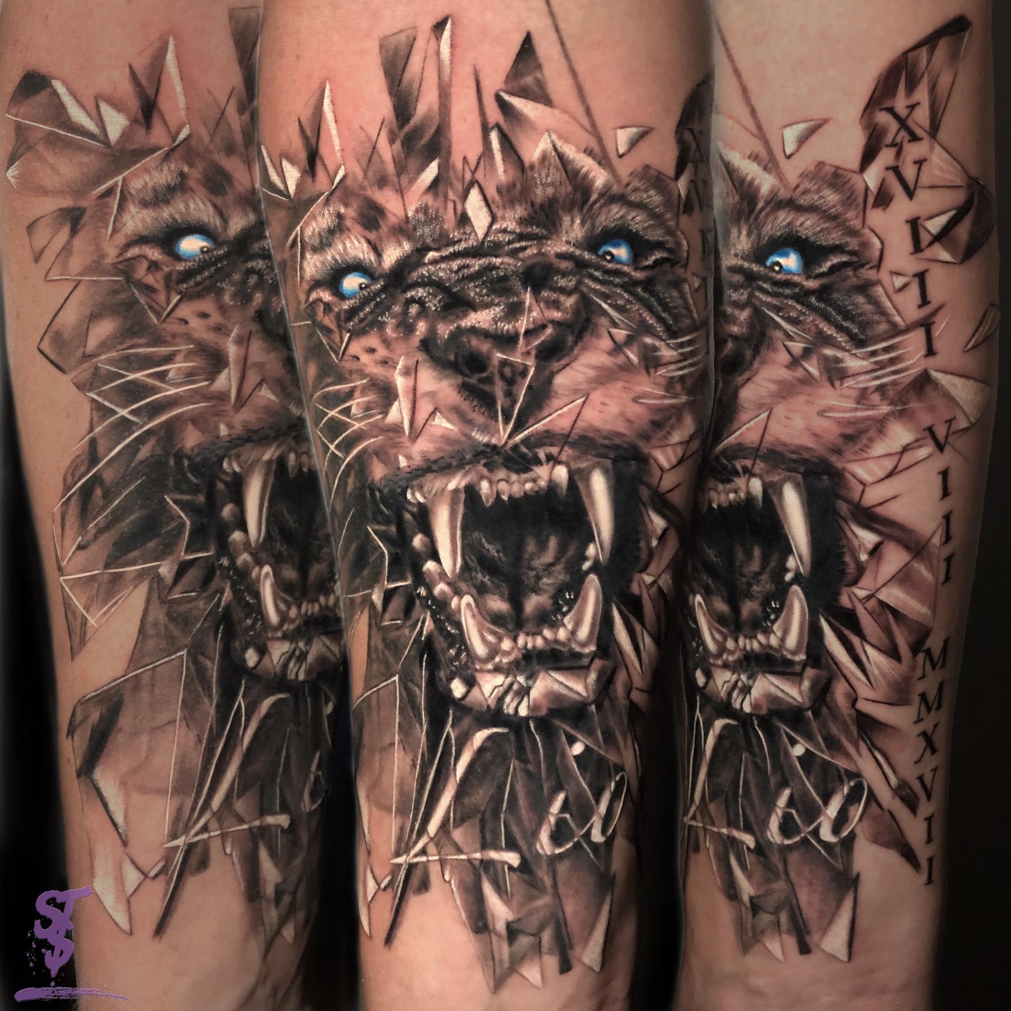 Löwe Lion modern tattoo
