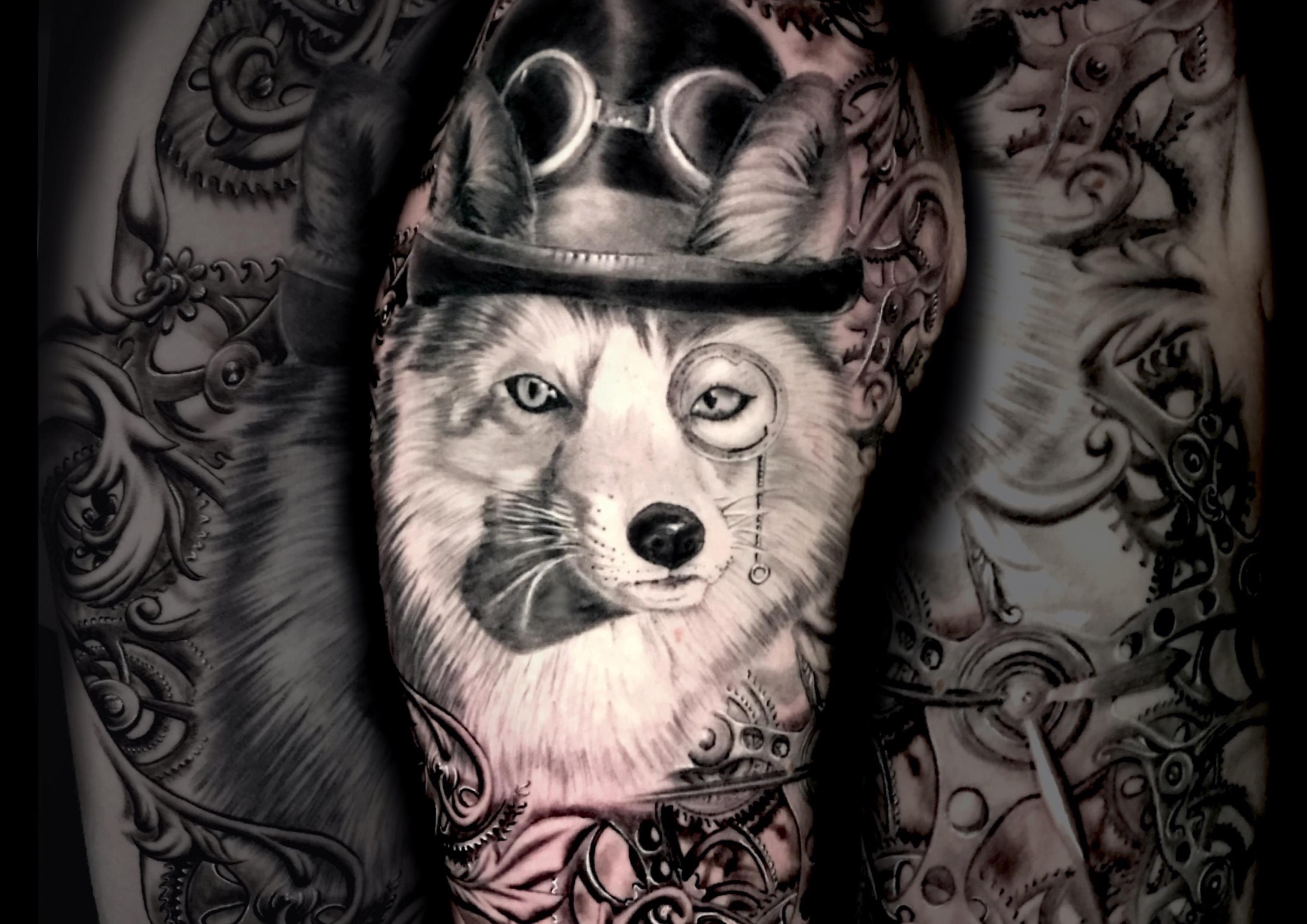 Fuchs Fox black white tattoo alice wonderland fantasy