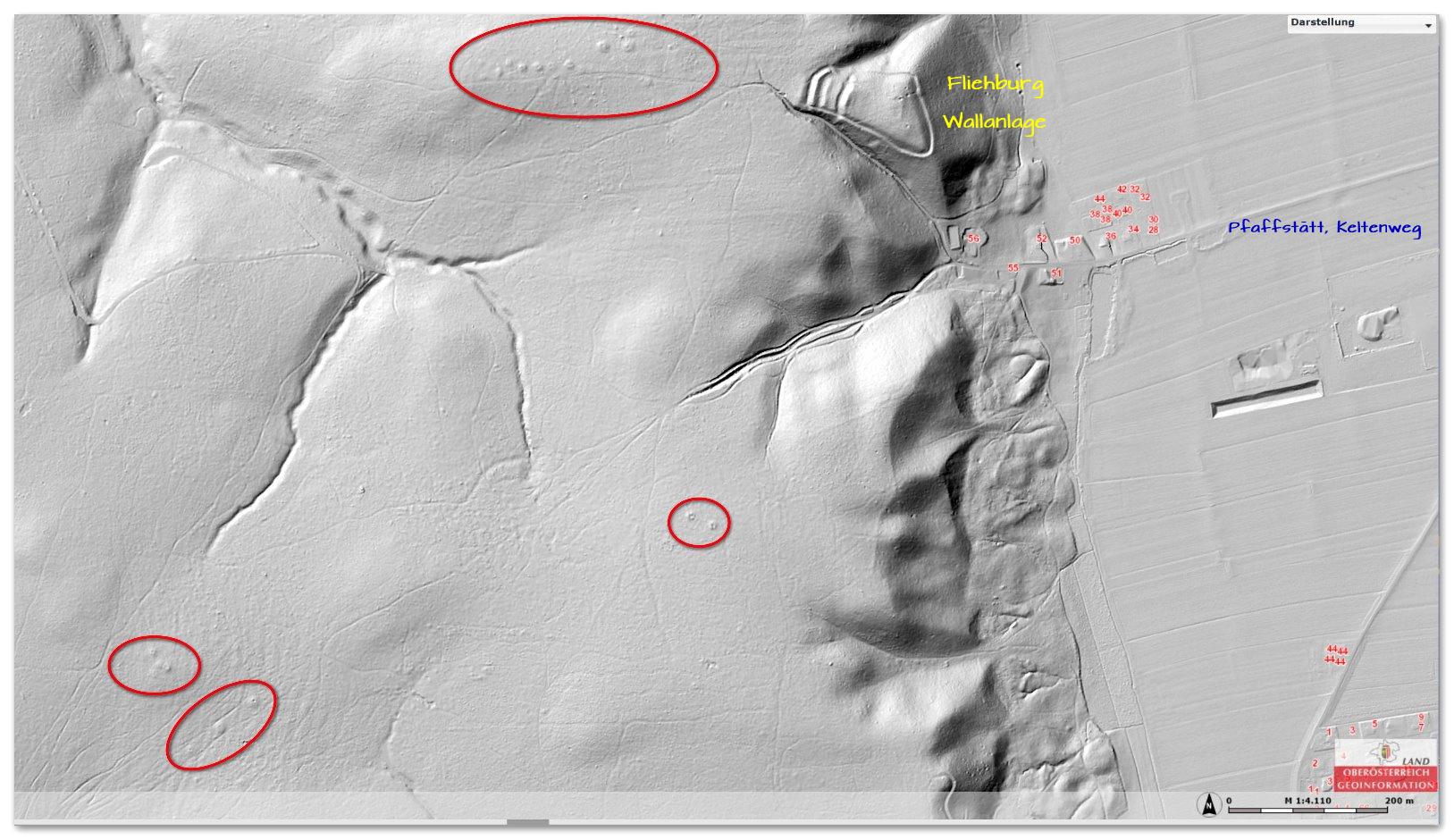 LIDAR-Aufnahme Hügelgräber Siedelberg - Pfaffstätt und Auerbach
