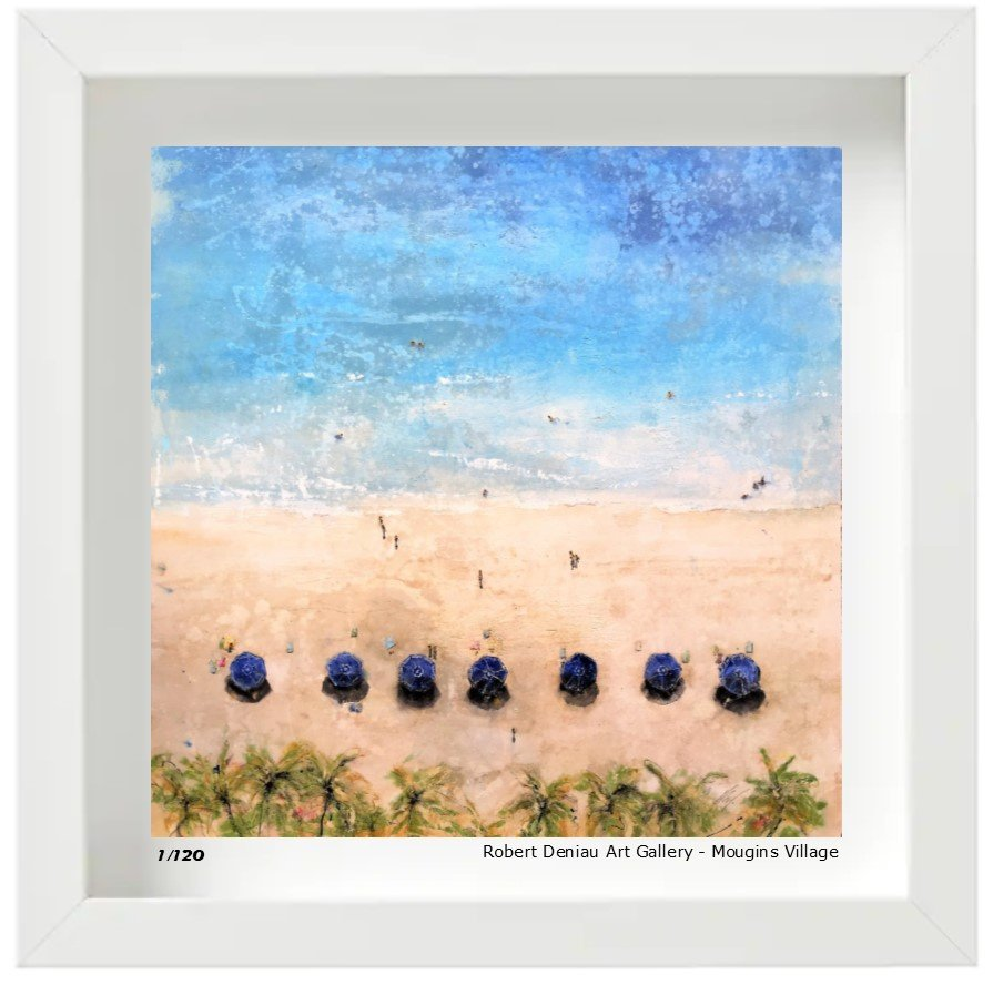 Blue Umbrellas Limited edition 120 Prints - 21x21 cm - box framed 25x25 cm High quality gloss paper