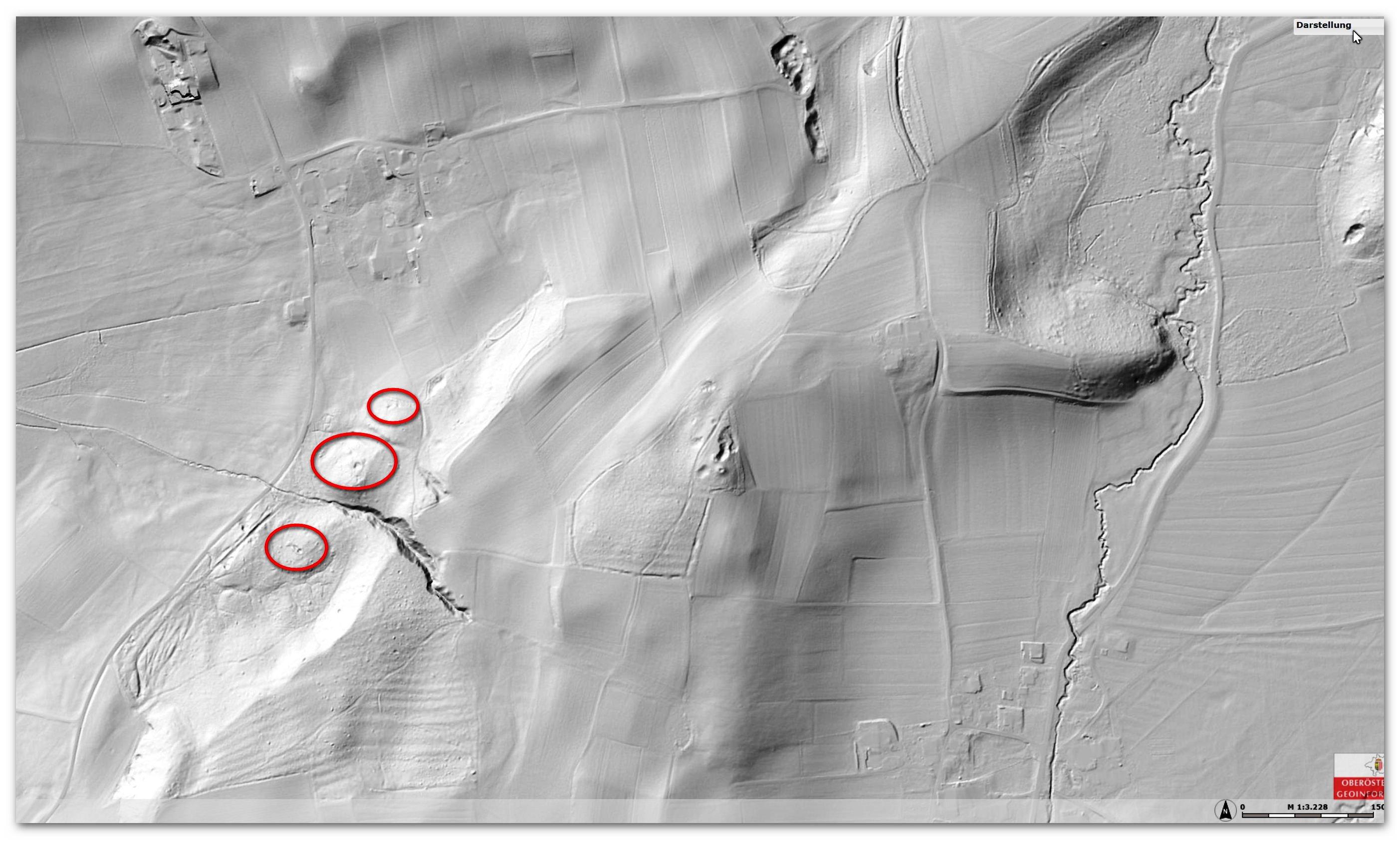 ALS - Airlaser Scan Riesentumuli im Seeholz