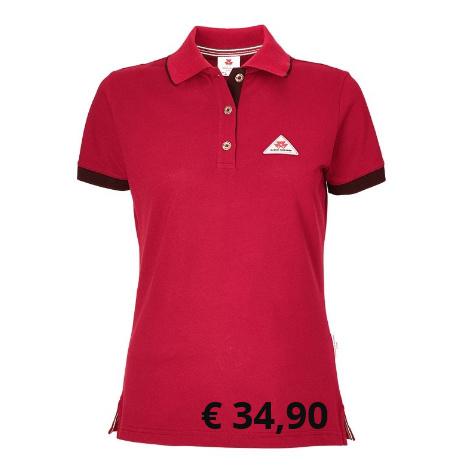 Rotes Poloshirt für Damen Original von Massey Ferguson,  mit schwarzer Kontrastverzierung  an Ärmeln und Kragen sowie  Metallknöpfen mit Logo.  Material: 100 % Baumwollpiqué  Artikelnummer: X993321803 € 34,90  Größen: S-XXL