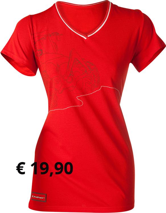 """""""Lindner"""" Damen T-Shirt  Das hochwertige Damen-T-shirt ist  aus 100% gebürsteter Baumwolle  gearbeitet. Der taillierte """"Fahrer- Damen-Schnitt"""" sorgt für  angenehmen Tragekomfort bei der  Arbeit. Auf der Vorderseite  befindet sich ein GEOTRAC- Aufdruck mit gestickten Bergen die  sich auch am Rücken fortsetzen.  Ein 3D-Logo sitzt am Ärmel. Der  abgesetzte V-Kragenbund ist mit  """"Rennstreifen"""" versehen.  Artikelnummer: 300444 € 19,90  Größen: S-XL"""
