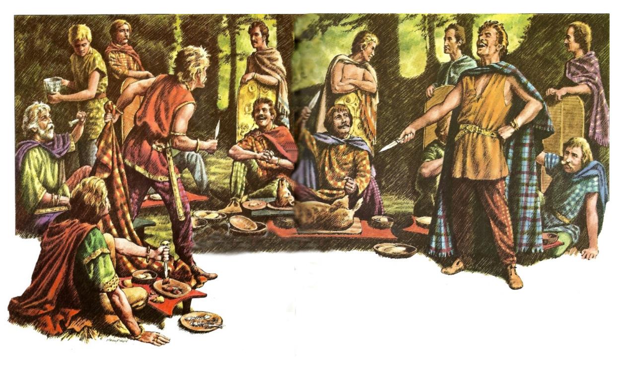 Erhitzte Gemüter auf einer Siegesfeier. Gereizt durch das Prahlen seines Widersachers greift ein junger Krieger zum Messer
