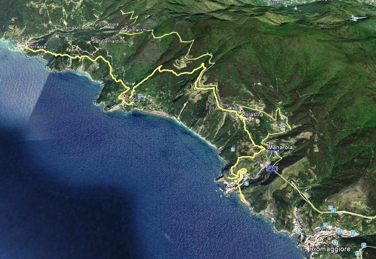 GPS-Daten Aufzeichnung     Wanderroute Manarola - Corniglia - Vernazza