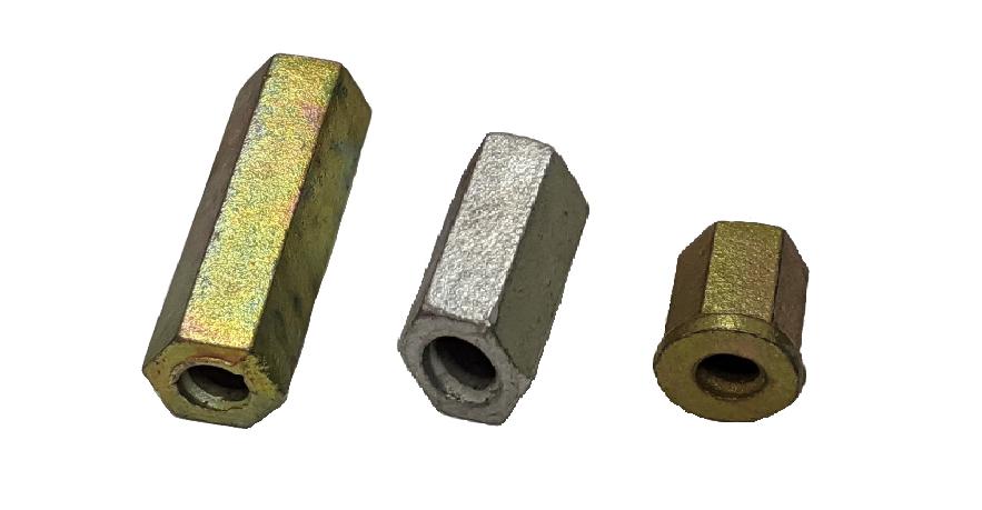 - Porca hexagonal:  Ø30mm x 100mm Ø30mm x 50mm Ø30mm x 50mm com anilha (varão roscado Ø17mm)