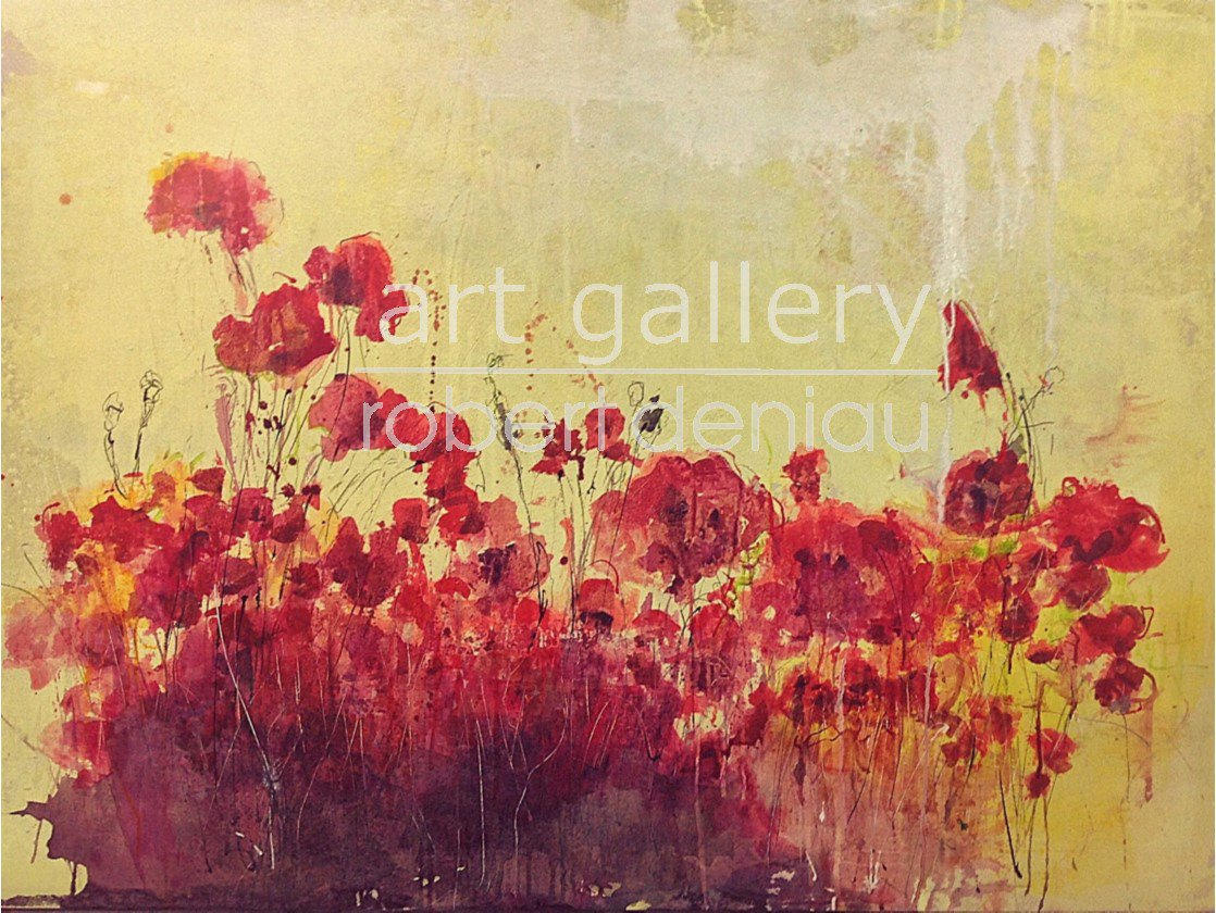 """""""Poppies"""" H130x97 cm - Framed H107x107 cm Mixed Media on canvas"""