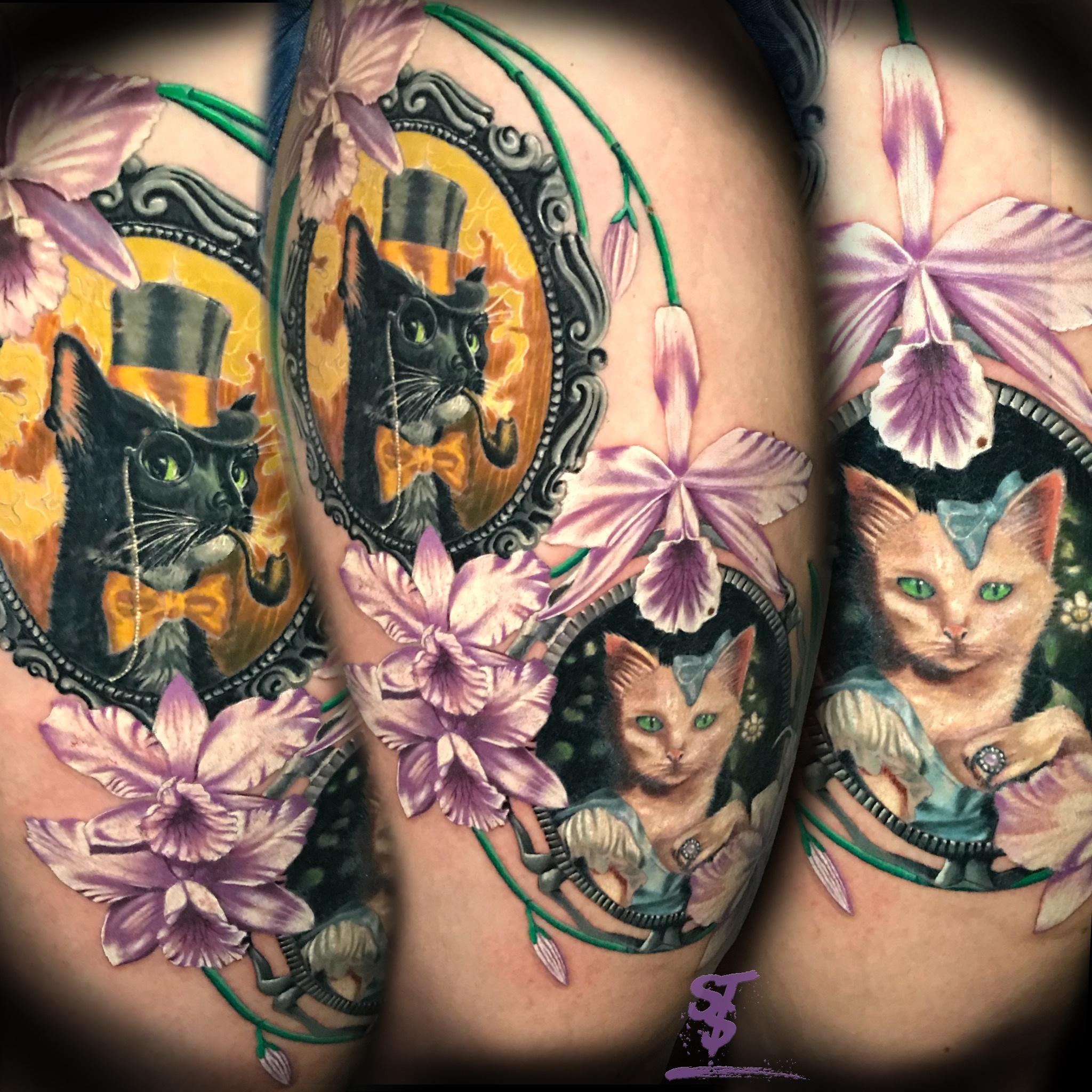 cat katze fantasy wonderland wunderland Orchide Blume Color Farbe tattoo