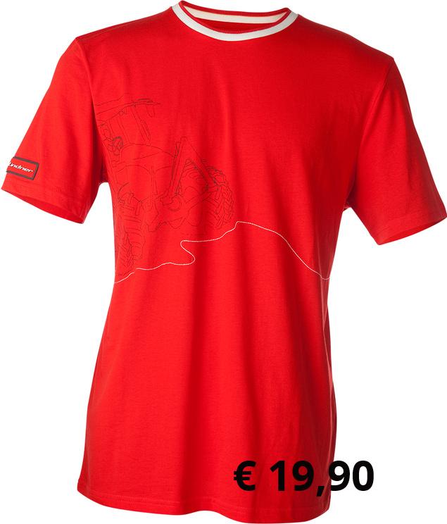 """""""Lindner"""" T-Shirt   Das hochwertige Fahrer-T-shirt ist  aus 100% gebürsteter Baumwolle  gearbeitet. Der komfortable  """"Fahrer-Schnitt"""" sorgt für  angenehmen Tragekomfort bei  der Arbeit. Auf der Vorderseite  befindet sich ein GEOTRAC- Aufdruck mit gestickten Bergen  die sich auch am Rücken fortsetzen.  Ein 3D-Logo sitzt am Ärmel. Der  abgesetzte Kragenbund ist mit  """"Rennstreifen"""" versehen.  Artikelnummer: 300442 € 19,90  Größen: XS-XXXL"""