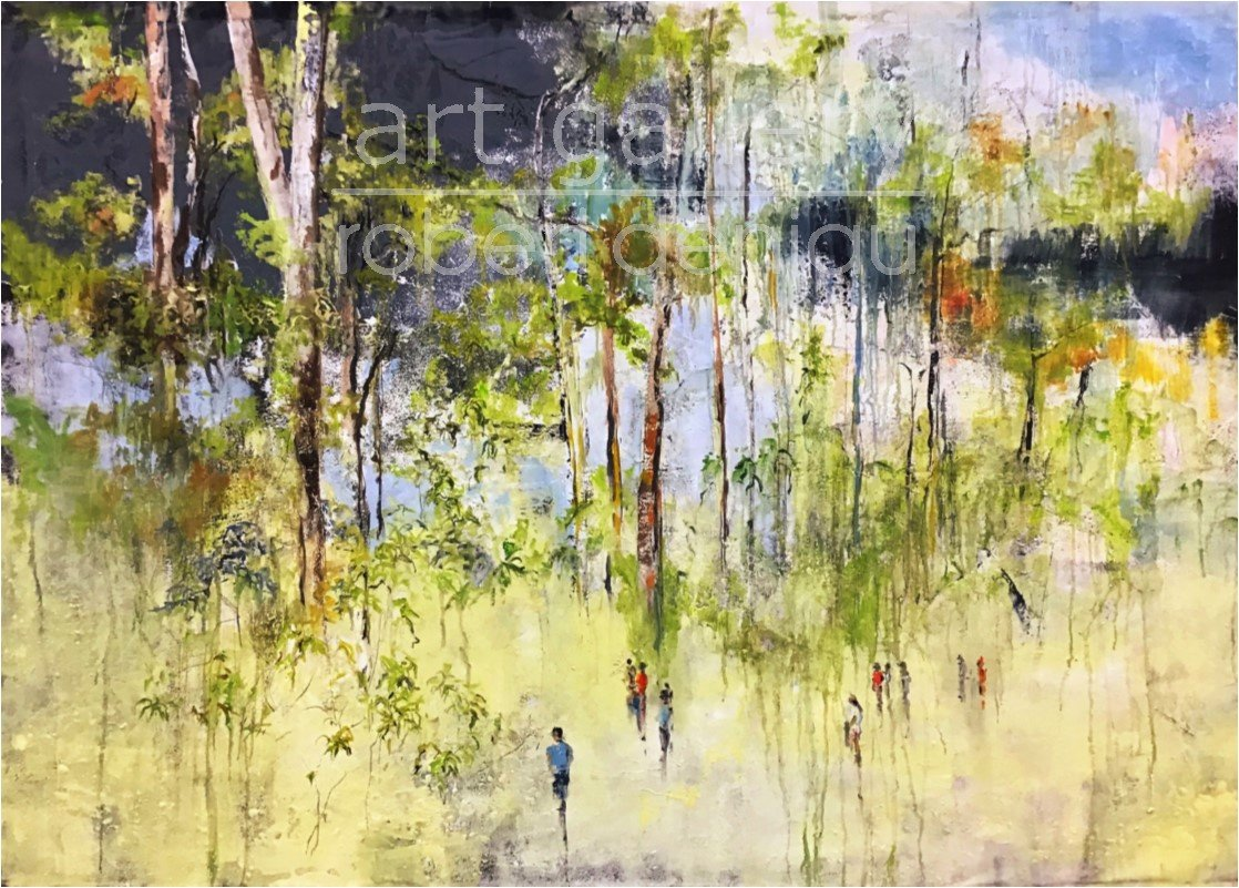 In the Park H100x140 cm Oil and plaster on canvas