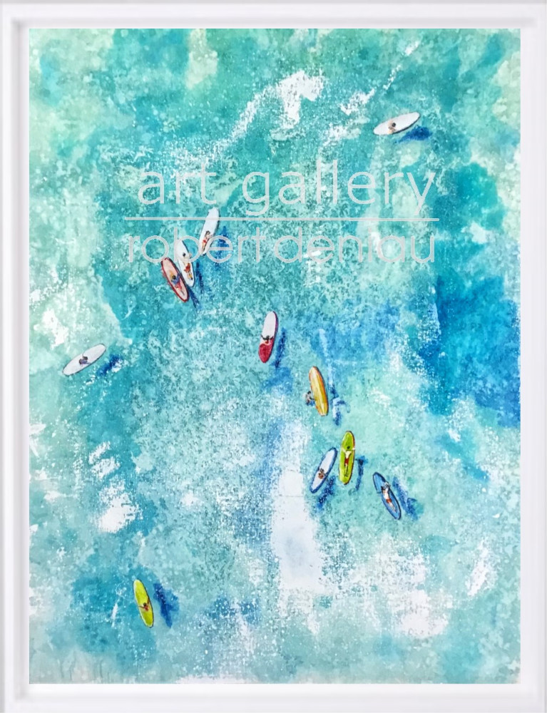 """SOLD """"Waiting for the wave"""" H80x60 cm - Framed 87x67 cm Mixed Media on canvas"""