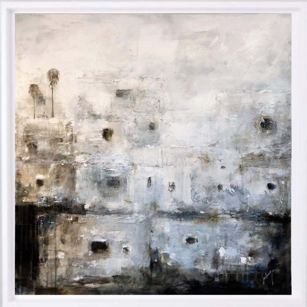 """Village blanc"" H80x80 cm - Framed 87x87 cm Mixed Media on canvas"