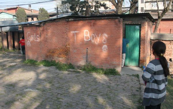 2010 : constat de l'extrême vétusté des WC dans la cour de l'école